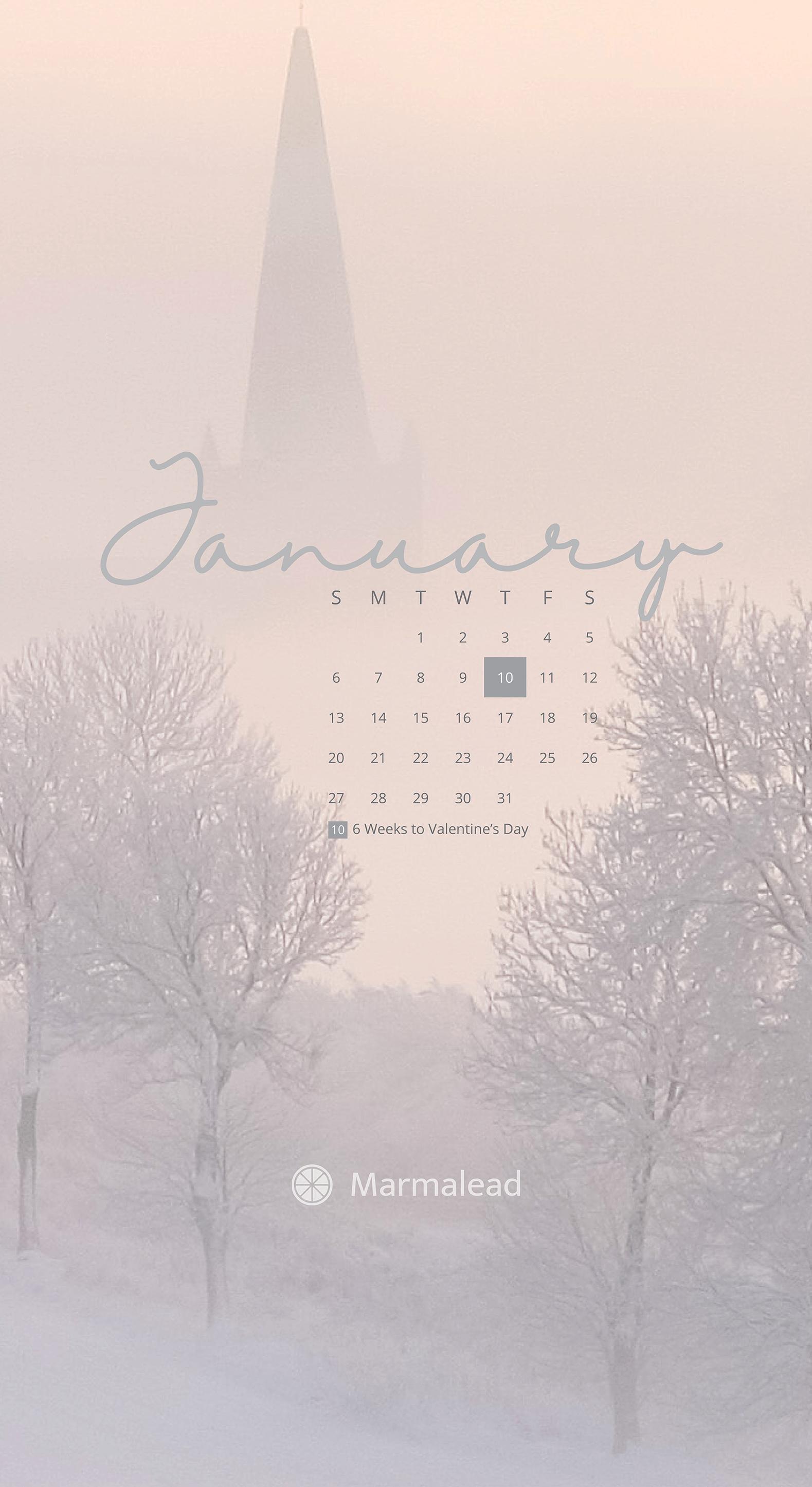 January 2019 Free Desktop Calendar Wallpaper From Marmalead
